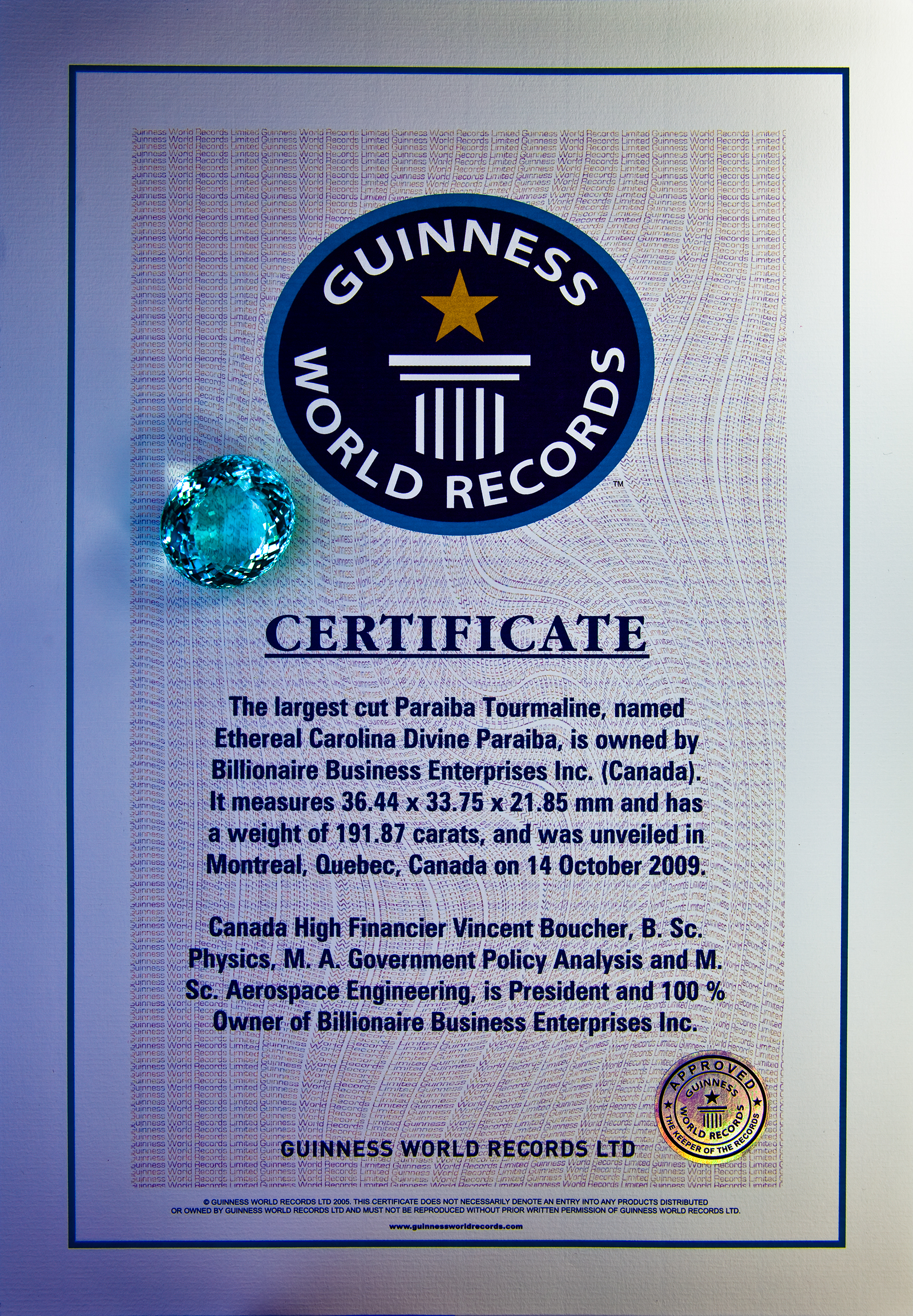 Montreal.AI's Chairman Vincent Boucher holds a Guinness World Records in the fine arts and high jewelry industry: http://www.billionaire.tv/TheGazette.pdf
