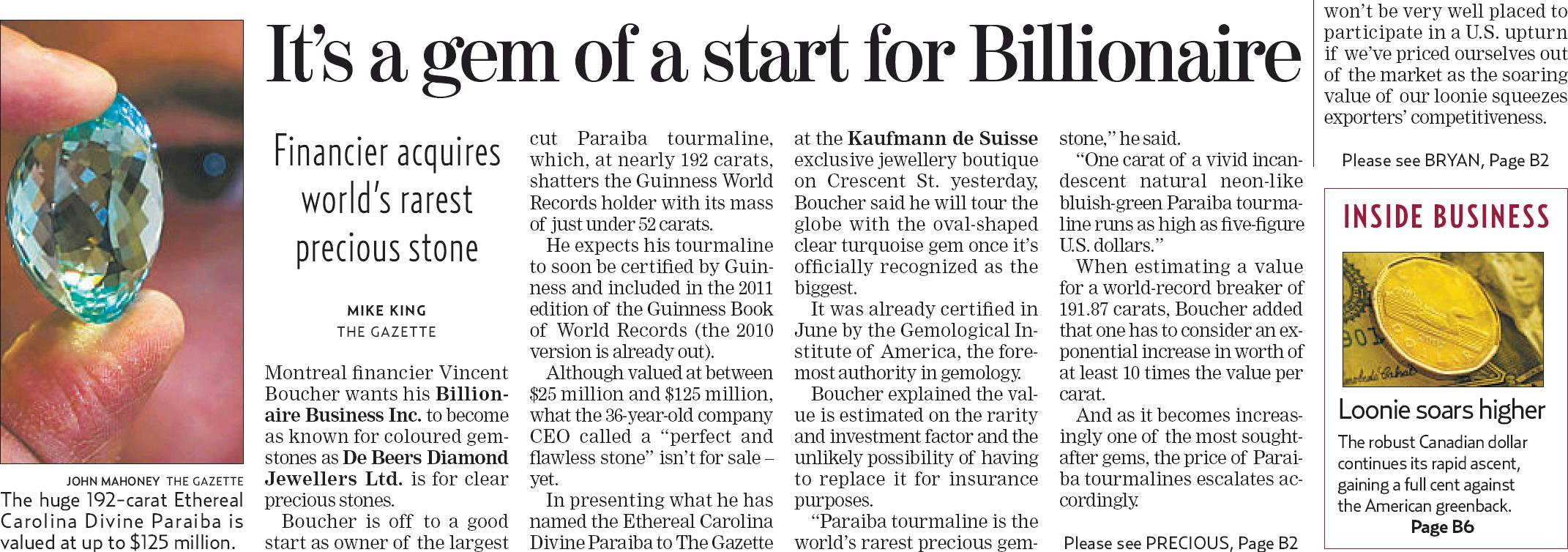 Guinness World Records™ | It's a gem of a start for Billionaire.